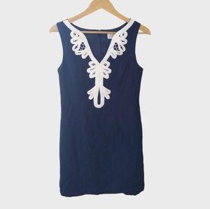 Eliza J Embroidered Neck Sheath Dress 8 Linen Blue